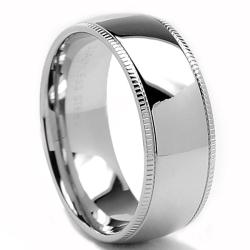 Oliveti Stainless Steel Classic Dome Millegrained Wedding Band Ring (8 mm)
