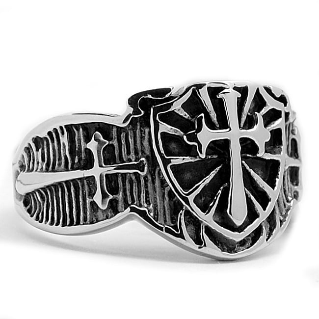 Oliveti Stainless Steel Cast Shield Cross Ring