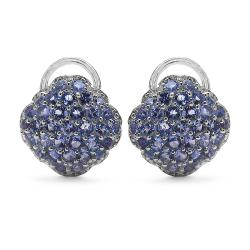 Malaika Sterling Silver Tanzanite Stud Earrings (3 1/10ct TGW)