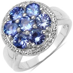 Malaika Sterling Silver Tanzanite Cluster Ring (1 3/5ct TGW)