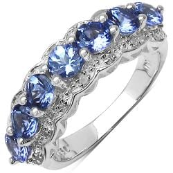 Malaika Sterling Silver Tanzanite and Diamond Accent Ring (1 3/5ct TGW)
