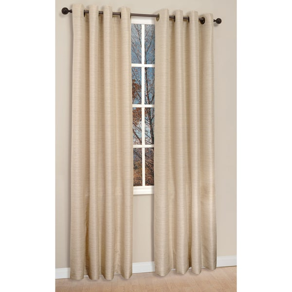 Victoria Flax 95-inch Grommet Top Curtain Panel Pair
