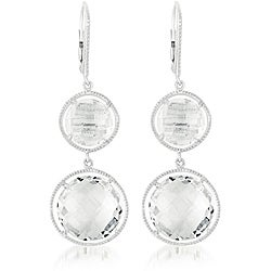 Collette Z Sterling Silver Clear Crystal Quartz High-Polish Round Dangle Earrings