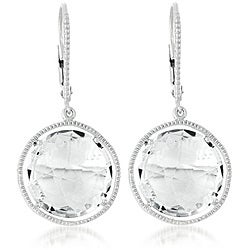 Collette Z Sterling Silver Clear Crystal Quartz Round Dangle Earrings