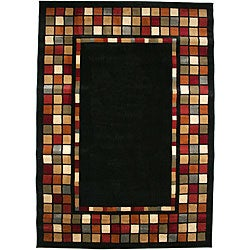 Contemporary Geometric Courtyard Black Multicolor Area Rug (7'10 x 9'10)