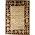 Contemporary Geometric Courtyard Ivory Area Rug (5'3 x 7'7)