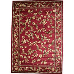 Transitional Floral Halle Claret Red Area Rug (5'3 x 7'7)