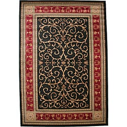 Transitional Border Paloma Claret Black Area Rugs (5'3 x 7'7)
