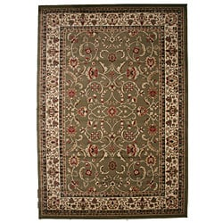 Traditional Oriental Keshan Sage Multicolor Area Rug (7'10 x 9'10)