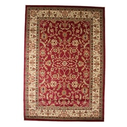 Traditional Oriental Keshan Claret Red Area Rug (5'3 x 7'7)