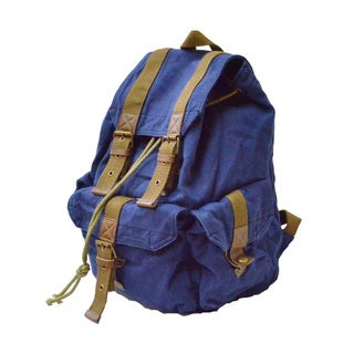 Rakuda 'Carrier' 16-inch Blue Washed Cotton Canvas Backpack