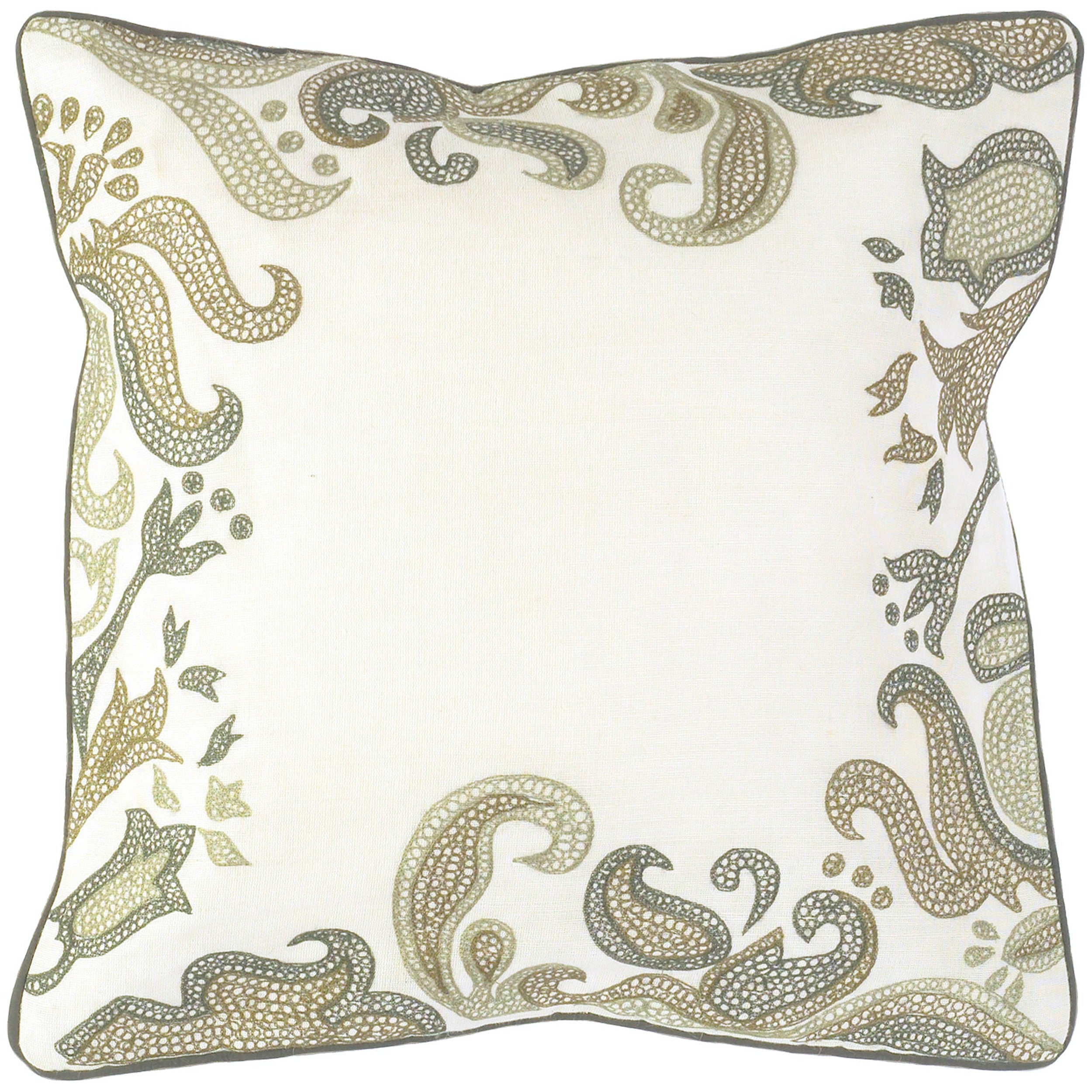 Andover Beige Floral Down Filled Decorative Pillow