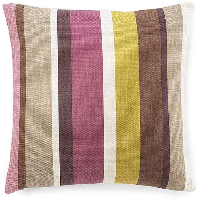 20 x 20-inch Hosta Stripes Alabaster Cotton Decorative Pillow