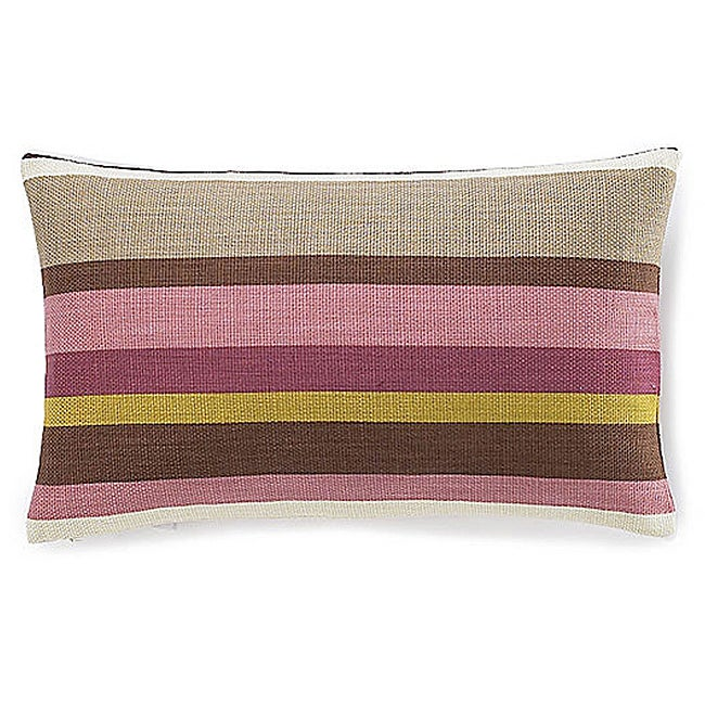12 x 20-inch Hosta Stripes Alabaster Cotton Decorative Pillow