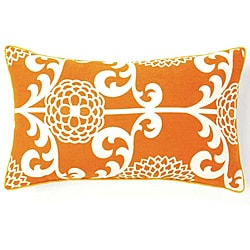 12 x 20-inch Floret Orange Cotton Decorative Pillow