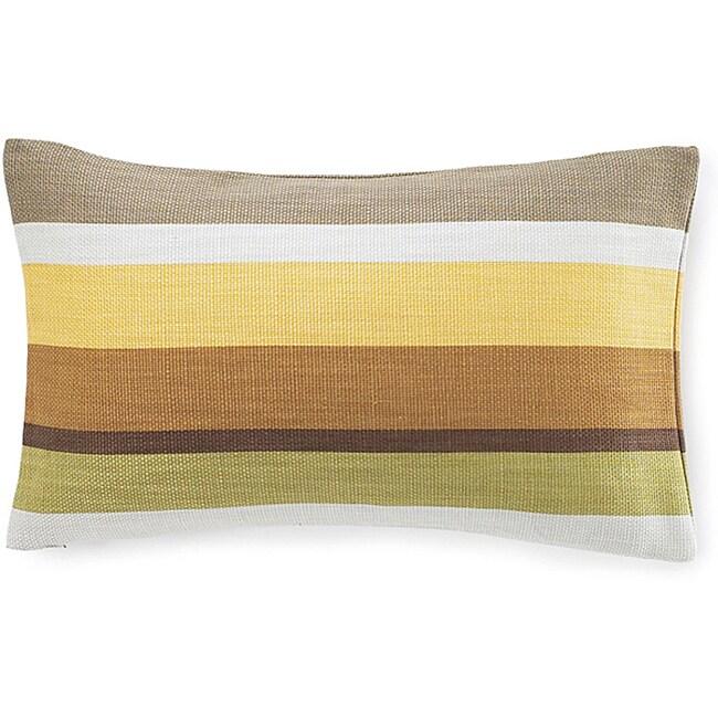 12 x 20-inch Hosta Stripes Celedon Cotton Decorative Pillow