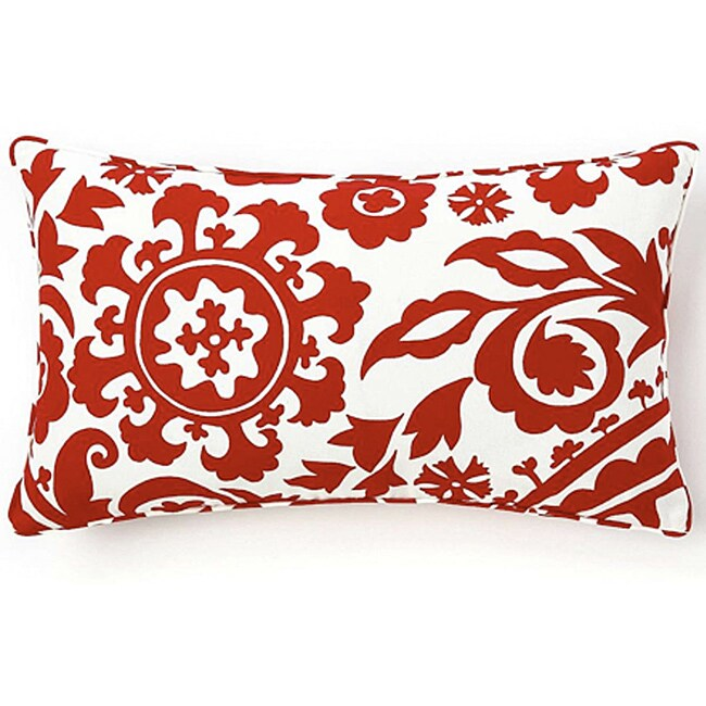 12 x 20-inch Red Siggi Suzani Decorative Pillow