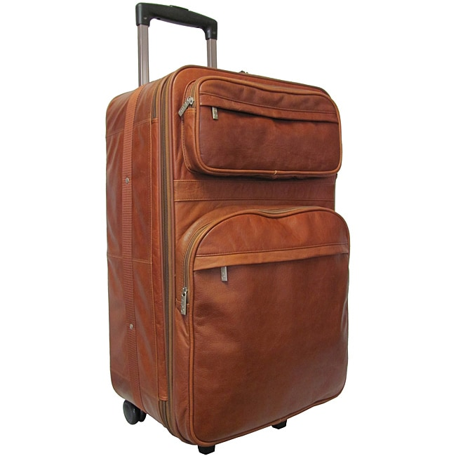 Amerileather Brown Leather 25-inch Expandable Rolling Upright Suitcase