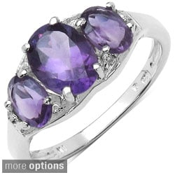 Malaika Sterling Silver Genuine Oval-cut Gemstone Ring