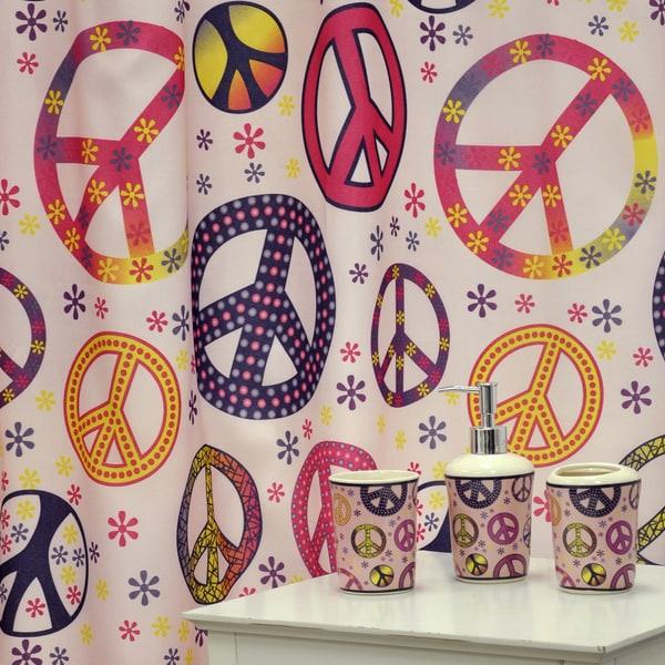 'Girly Peace Sign' Bath Accessory 16-piece Set