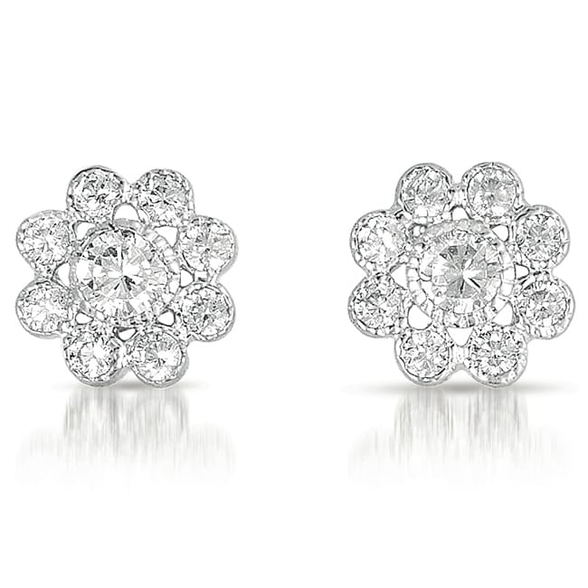 Collette Z Sterling Silver Clear Cubic Zirconia Flower Stud Earrings at Sears.com
