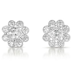 Collette Z Sterling Silver Clear Cubic Zirconia Flower Stud Earrings