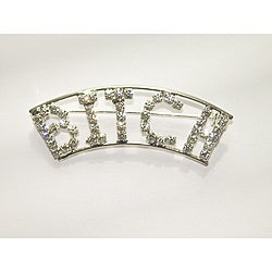 Silvertone 'Bitch' Crystal Pin