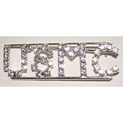 Silvertone USMC Crystal Pin