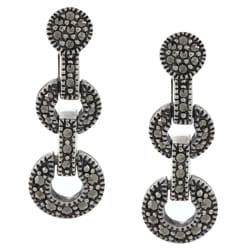 Sterling Silver Marcasite Round Pave Earrings