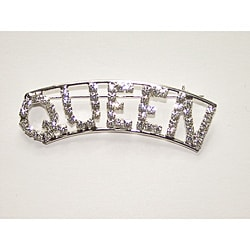 Silvertone 'QUEEN' Crystal Pin