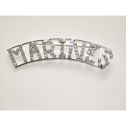 Silvertone 'MARINES' Crystal Pin
