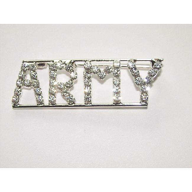Detti Originals Silvertone 'ARMY ' Crystal Pin
