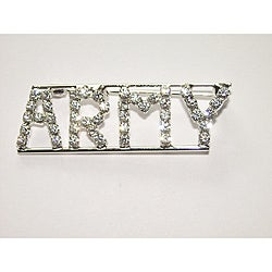 Silvertone 'ARMY ' Crystal Pin