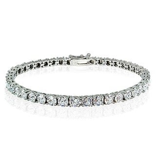 Icz Stonez Sterling Silver/Gold Overlay 4mm Cubic Zirconia Tennis Bracelet (18ct TGW)