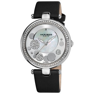Akribos XXIV Women's Silvertone Sunray/Mother of Pearl Quartz Watch with Diamond and Crystal Accents