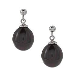 La Preciosa Sterling Silver Oval Created Black Shell Pearl Earrings