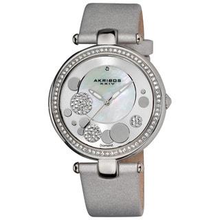 Akribos XXIV Women's Silvertone Sunray/ Diamond Dial Quartz Strap Watch