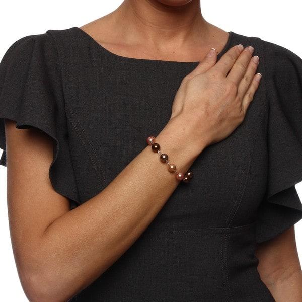 La Preciosa Sterling Silver Shades of Brown 10-mm Shell Pearl Bracelet