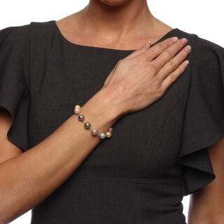 La Preciosa Sterling Silver Multi-colored 10-mm Shell Pearl Bracelet