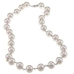 La Preciosa Sterling Silver White 10-mm Shell Pearl Necklace
