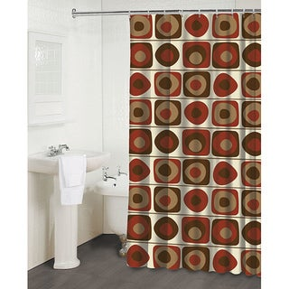'Vintage Squares Garnet' Shower Curtain
