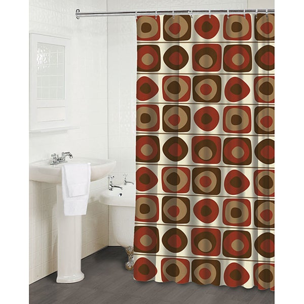 39 Vintage Squares Garnet 39 Shower Curtain Overstock Shopping Great