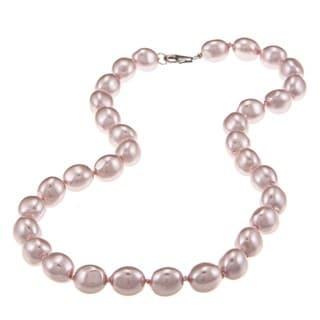 La Preciosa Sterling Silver Oval Pink Shell Pearl Necklace