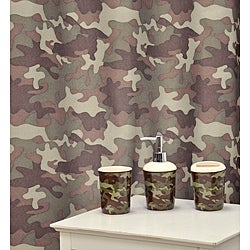 'Camouflage Khaki' Shower Curtain & Bath Accessory 16-piece Set
