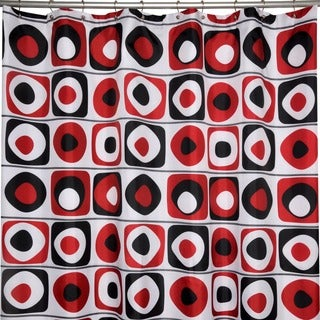 'Vintage Squares Red' Shower Curtain