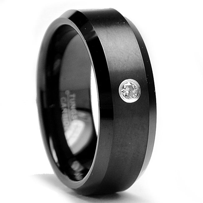 Black-plated Tungsten Carbide Men's Diamond Accent Ring (8 mm)