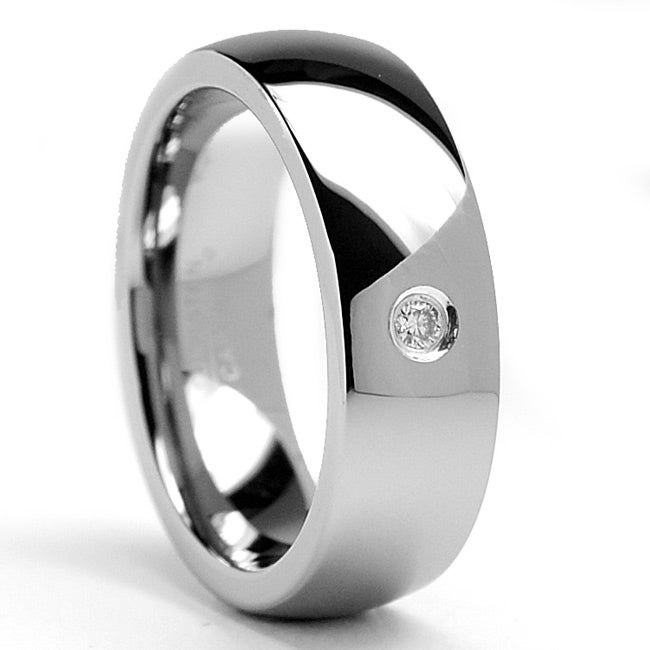 Tungsten Carbide Men's Diamond Accent Dome Ring (7 mm)