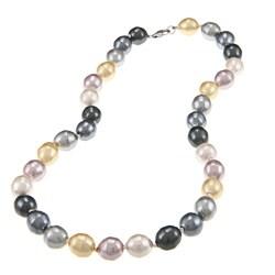 La Preciosa Sterling Silver Oval Multi-colored Shell Pearl Necklace