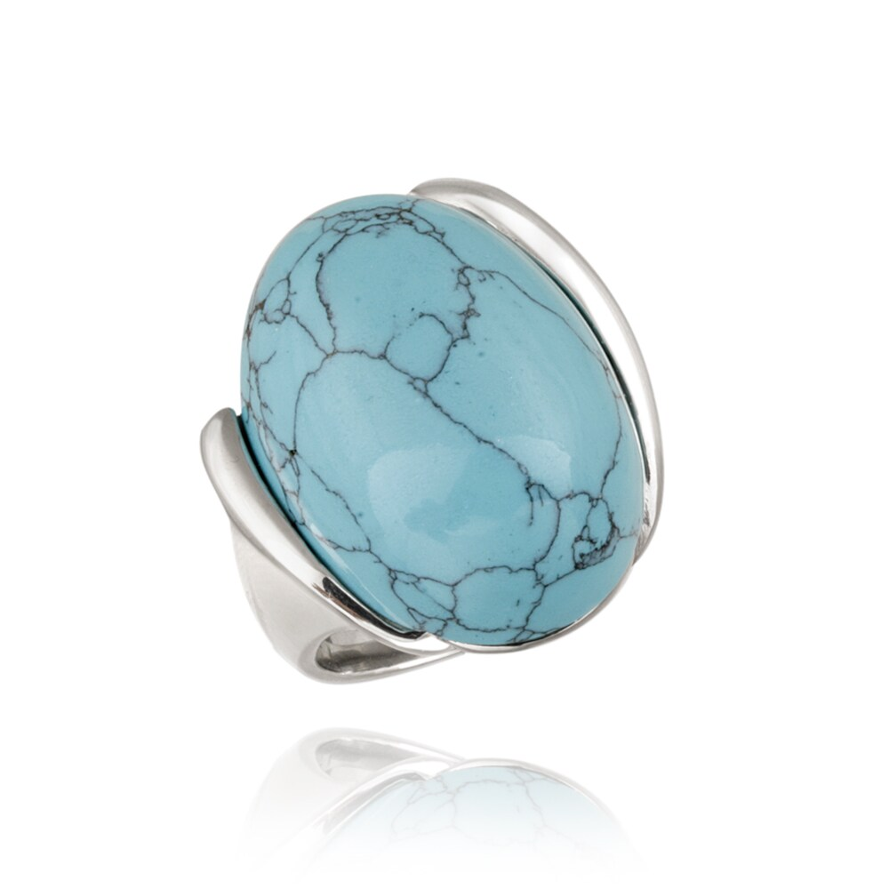 Glitzy Rocks Stainless-steel Bold Oval-cut Synthetic Turquoise Ring