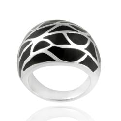 Glitzy Rocks Stainless Steel Black Enamel Ring